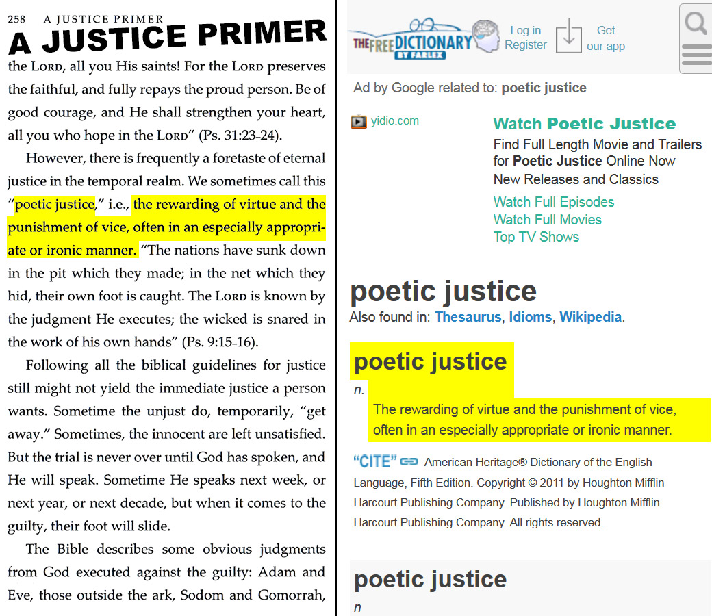 """A Justice Primer page 258 — """"poetic justice"""""""