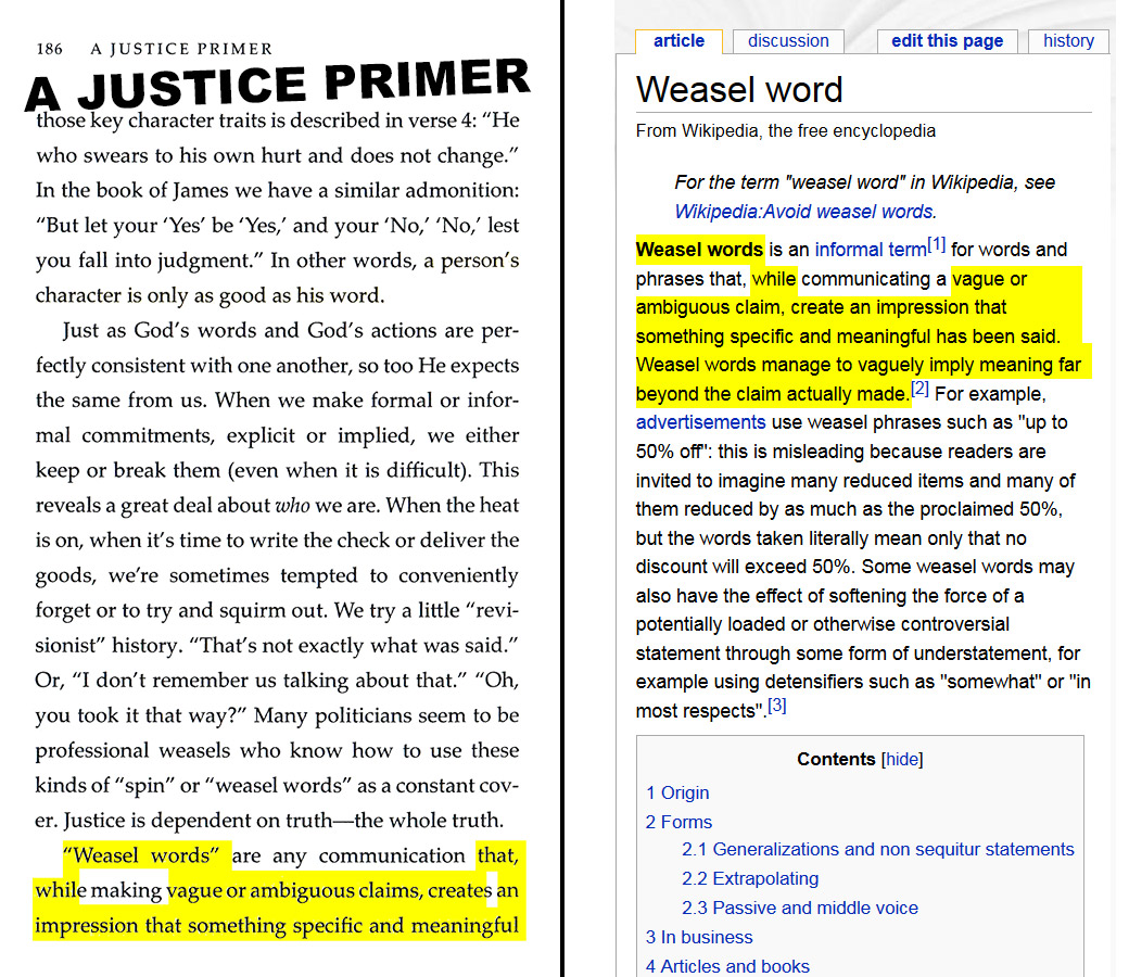 "A Justice Primer page 186 — ""weasel words"" via Wikipedia"